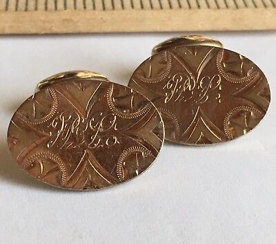ANTIQUE VICTORIAN GOLD FILLED CHASED ORNATE CUFF LINKS BUTTONS Initials
