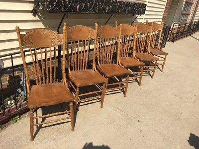 Vintage Set 6 Press Back Carved Spindle Country Farm Style Ash Chairs