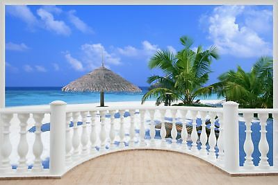 Huge 3D Balcony Exotic Beach Wall Stickers Mural Decal Wallpaper 325