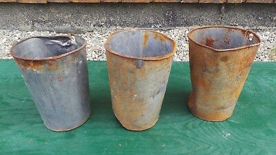 "Vintage 3 Maple Syrup OLD Tin Sap Buckets 9"" High  by 6"" Wide at Top Interesting"