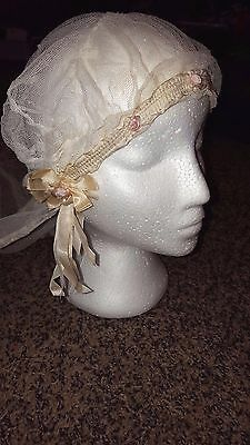 1920's Antique Wedding Veil in Netting w/ Satin Ribbon Trim pink roses floral