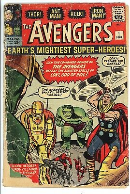 Avengers #1 Nice Low Grade 1st App of the Avengers (Iron man Hulk Thor) 1963