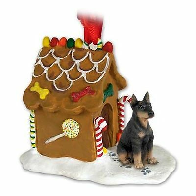 DOBERMAN Pinscher Black Tan Dog Gingerbread House Christmas Holiday ORNAMENT