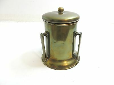 Vintage / Antique Brass Humidor With Lid With Arts And Crafts Style 3 Handles