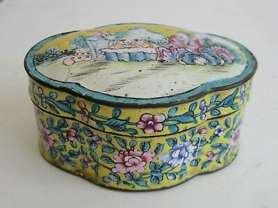 Fine Old Chinese Enamel Covered Copper Scholar Figures Decorated Lidded Box