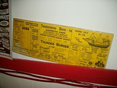 Vintage Thuderbird Dairy Queen Drive in menu Baltimore Maryland 2 Sided 23 x 9