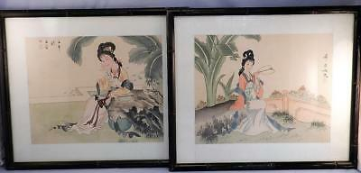Vintage  Matching Pair Japanese Watercolour Paintings of Geisha Girls~Signed
