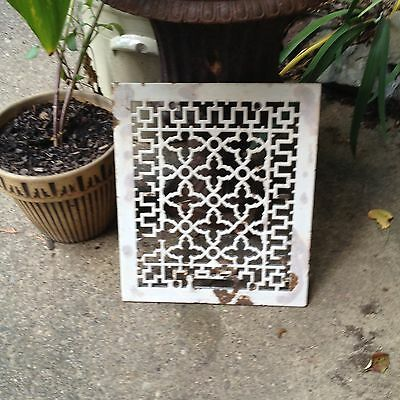 Antique Victorian Gothic Enameled Cast Iron Heat Grate Wall Garden Art Salvage