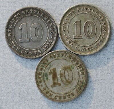 MALAYSIA Straits Settlements 10 Cents 1918,1919,1926 Lot of 3 Silver Coins, NR!