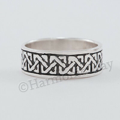 CELTIC KNOT WORK BLACK BAND RING Irish 925 STERLING SILVER size 9.5 sz 9 1/2