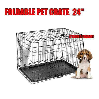 """24"""" Small Dog Kennel Collapsible Metal Crate Pet Puppy Cat Rabbit Cage"""