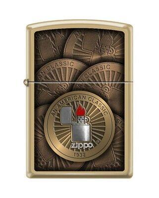 Zippo 7407 Classic Design Logo Brushed Brass Finish Full Size Lighter