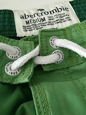 628af62abc Abercrombie Boys Swim Trunks Board Shorts Swimsuit Size Med green white  Striped