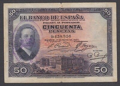 50 Pesetas From Spain 1927 A7