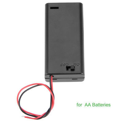 2X AA 3V Battery Holder Connector Storage Case Box ON/OFF Switch With Lead Wire