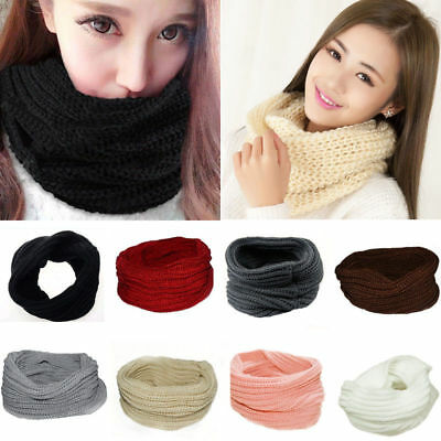 Fashion Women Ladies Wool Knit Winter Warm Knitted Neck Circle Cowl Snood Scarf