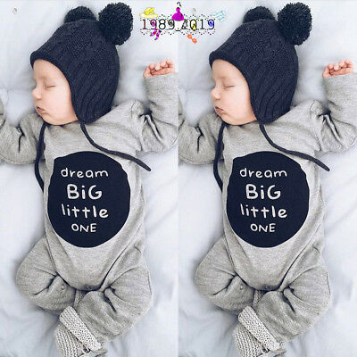 Newborn Infant Baby Boy Girl Soft Cotton Letter Romper Jumpsuit Clothes Outfits