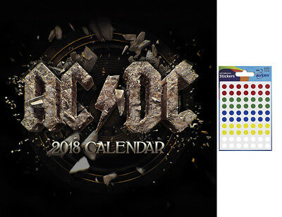 AC/DC 2018 Official Wall Calendar - Includes 70 Coloured Dot Stickers
