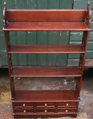 Great Looking Open Wooden Book Shelves With 6 Small Drawers To Its Base