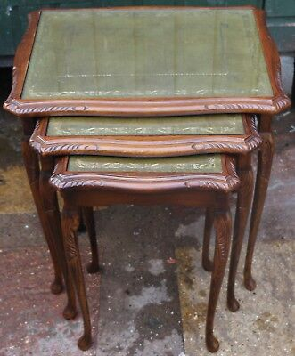 Very Useful Clean Wooden Nest Of 3 Leather Topped Tables With Glass Tops