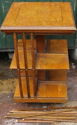 Very Nice Useful Revolving Wooden Bookcase For Easy Restoration