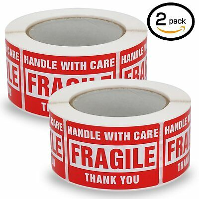 """2 Rolls/1000 Labels,Handle With Care–Fragile–Thank You, Red Warning Shipping 2"""""""