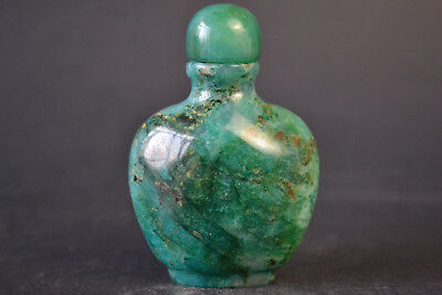 Vintage Collectible Natural Green Jade Inside Hollow Old Big Snuff Bottle