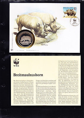 053534 Numisbrief Coin ´s Letter WWF Rhino Swaziland