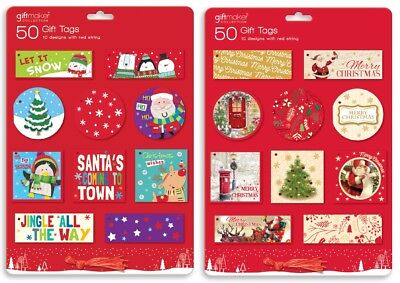 50/100 Christmas Gift Tags Cards Tie On Labels Mixed Designs Red Metallic Thread