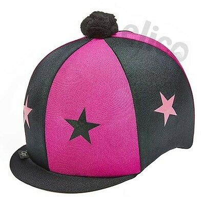 Black & Deep Pink Stars Riding Hat Silk Cover For Jockey Skull Caps One Size