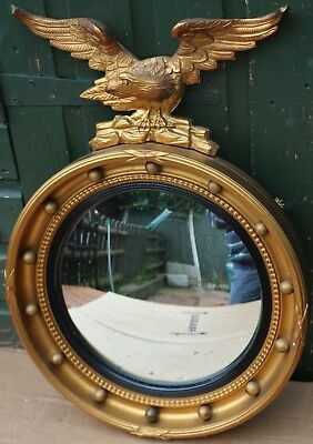 Fab Looking Round Porthole Type Gilt Framed Wall Mirror With Eagle On Top