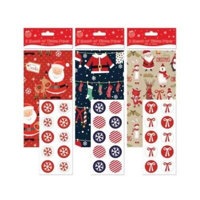 5 Sheets Of Christmas Xmas Printed Tissue Paper & 10 Stickers Wrapping Sheets