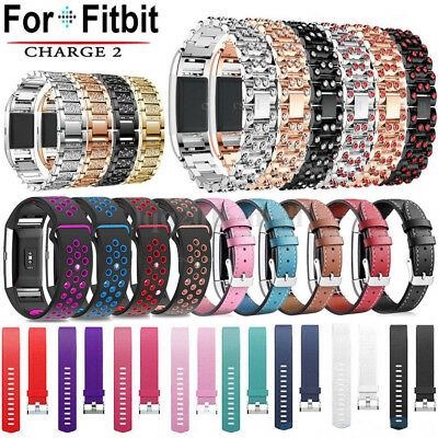 Silicone/Classic Leather/Crystal Stainless Steel Sport Strap For Fitbit Charge 2