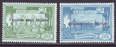 Burma 1963 SC 173-174 MNH Set Freedom from Hunger