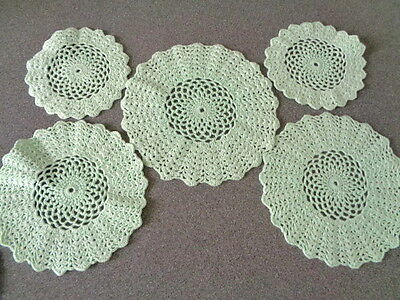 Vintage Set of Crocheted Pale Green Round Doilies 5 Pieces