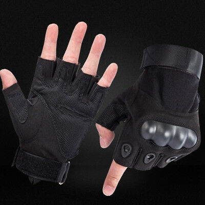 Tactical Fingerless Military Outdoor Airsoft Hard Knuckle Half Finger Gloves BKB