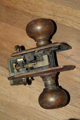 Antique Brass Door Knob Hardware Large Corbin Brand Rare Set Pair Lock
