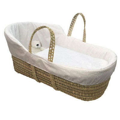 Clair de Lune Broderie Anglaise High Top Palm Moses Basket, White