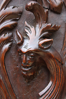 ANTIQUE CARVED FRENCH Wall Panel GARGOYLE GRIFFIN BLACK FOREST WOOD PLAQUE