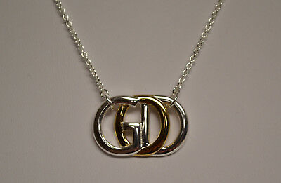 Silver & Gold Plated GOD Pendant w/Overlapping Letters, New in Gift Box