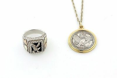 Men's Sterling Silver/12Kt Gold Ring And .999 Silver Neck Chain Both With Eagles
