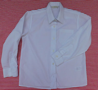 Vintage 1990s girls blouse Age 8 year Old school uniform M&S white long sleeves