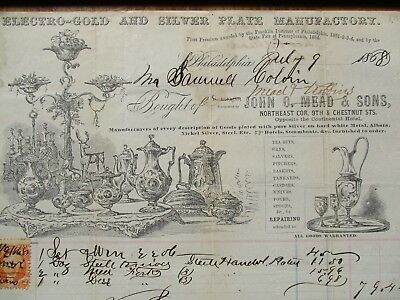1868 PIC'S John Mead,Gold/Silver Plated MFG.,PRICES,Phila.,signed document,STAMP