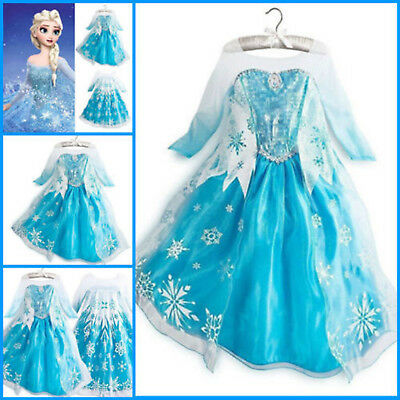 Halloween Elsa Kids Girls Anna Dress Princess Costume Cosplay for Frozen Party