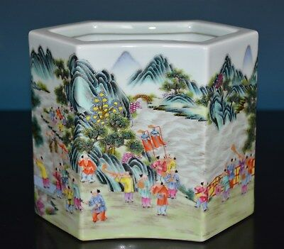 Superb Antique Chinese Famille Rose Porcelain Brush Pot Marked Qianlong S5556