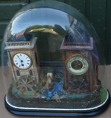 Fabulous Old Clock & Barometer Musical Automaton Under Massive Real Glass Dome