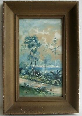 Antique Florida Highwaymen Style Country Landscape Painting Artist SIGNED Wagner
