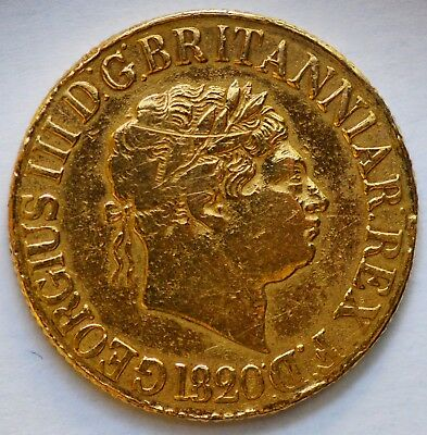 DETAILED 1820 King George III Gold Sovereign - Thin Numbers / Closed 2
