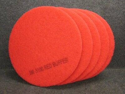 """LOT of 5 #5100 3M 17"""" RED BUFFER PADS, 3-1/4"""" CENTER HOLE"""