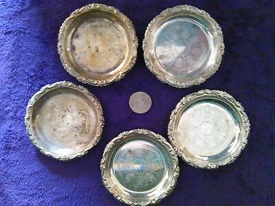 Five Peice Vintage Coaster Set - Silver Plated Ep On Steel Made In Italy